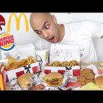 تحدي اكل وجبات عائلية عملاقة من برجر كينج, مكدونالدز, وكنتاكي مجموع 10,000 سعرة حرارية |التحدي الأ