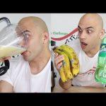 تحدي وتجربة مشروب مخلوط من الموز والسبرايت والتفاعل الكيميائي |التحدي الأكبر|